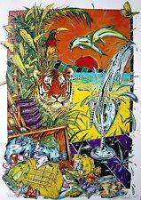 Sommer am Meer / große Farbserigraphie, handsigniert R.Krause 95 / 1995