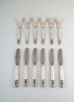 Early Georg Jensen Sterling Silver 'Acorn' Cutlery. Lunch service, 12 pieces