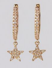 Huggie Earring with Dangling Star Set with Diamond in 14k Gold ( D 0.13)
