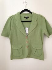 August Silk Cotton Cardigan Sweater Womens Gren Jacket Size M Nwt Msrp$78.00