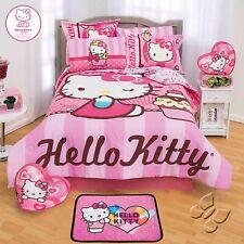 HELLO KITTY CUPCAKE KIDS GIRLS ORIGINAL LICENSED COMFORTER SET 4 PCS TWIN SIZE
