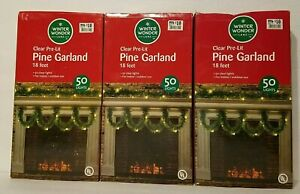 Lot of 3 Boxes 18ft Pre-Lit Pine Garland w/ 50 Clear Lights Each New in Boxes
