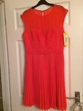 Karen Millen Size 14 Orange Silk Trim Sleeveless Over The Knee Flare Dress