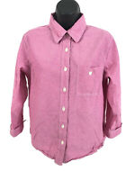 Coldwater Creek Shirt Womens Size M Medium Pink Red Chambray Long Sleeve Button