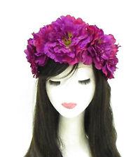 Large Purple Flower Headband Sugar Skull Halloween Day of the Dead Big Goth 795