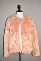 CHELSEA28 NEW $129 Faux Fur Open Jacket in Pink Misty Medium