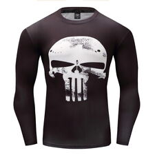 Man's T-Shirts Superhero White Punisher Tops Gym Sport Compression Long sleeve