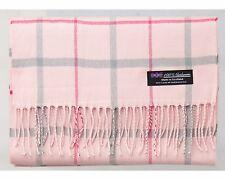 100% Cashmere Scarf Pink Grey Tartan Flannel Check Plaid Scotland Wool R3923