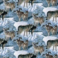 Wild Wings Silver Shadows Wolf Scenic Wolves Cotton Fabric Fat Quarter