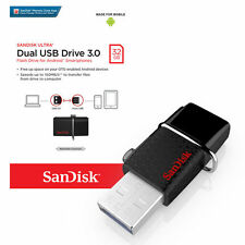 SanDisk 32GB Ultra Dual OTG USB 3.0 Flash Drive Memory Stick For Mobiles NEW