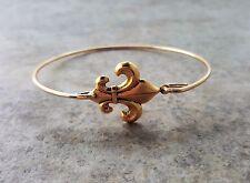 Handmade Gold Fleur De Lis Bangle Bracelet
