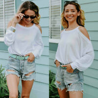 Womens Long Sleeve Cold Shoulder Tops Blouse Ladies Loose T Shirt Pullover Tees