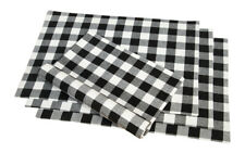 Cotton Placemats Checkered Black & White 4/pack