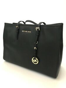 Michael Kors * Jet Set Saffiano Leather Tote Bag Black & Gold COD PayPal