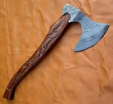 ARC FUNCTIONAL HANDMADE CARVED HANDLE DAMASCUS STEEL VIKING AXE WITH SHEATH