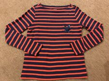 Crewcuts, L/S Navy Blue & Orange Striped With Sequin Star Tee.  Size 10