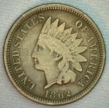 1862 US Indian Head 1c One Cent Coin Copper Nickel Very Good