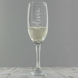 Personalised Engraved Champagne Prosecco Flute Glass Any Name Any Occasion Gift