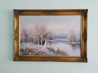 LARGE Original Oil Painting Countryside, Very Ornate Baroque Gilt Gold Frame