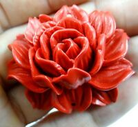 Chinese  Organic Cinnabar Pendant  necklace hand-carve of flowe D124
