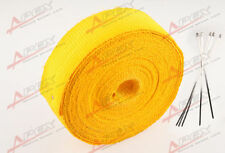 "Fiberglass Exhaust Thermo Wrap Tape High Heat 2"" x 25 FOOT Cloth Roll Yellow E"