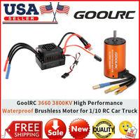 GoolRC Waterproof 3660 3800KV Brushless Motor W/60A ESC For 1/10 RC Car K4I1