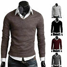 Men Casual Slim Fit V-neck Knitted Cardigan Pullover Jumper Sweater Top 5 color