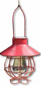 Matt red distressed metal marine style battery operated lantern
