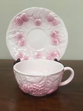 Salins Les Bains France Fruit Majolica Pink Cup & Saucer ~ Multiple Available