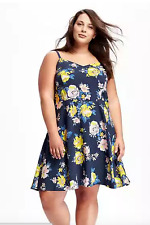 OLD NAVY Plus 2X FIT & FLARE CAMI DRESS (navy/yellow floral adjust. straps) New