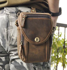 Men Vintage Crazy Horse Genuine Leather fashion Waist Fanny Pack Crossbody Bag