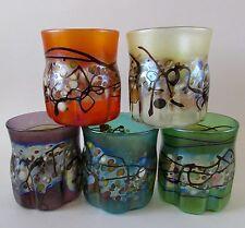 Signed Favrile Millefiori Studio Art Glass Tumblers Set of 5