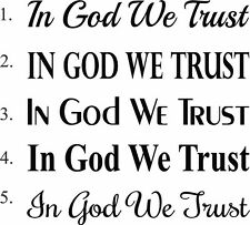 (2)  IN GOD WE TRUST window car truck decal stickers  2 pc set