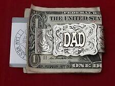 WESTERN $ DAD $ MONEY CLIP~HAND ENGRAVED~GERMAN SILVER & JEWLERS BRONZE #904