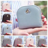 Women Bifold Leather Wallet Half Round Coin Bag Zip Card Holder Love Heart Purse