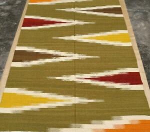 5x8 Green Afghan Kilim Hand Woven Wool Garden Area Rug 5' x 8' IKAT Kelim Carpet