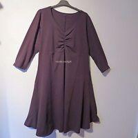BORIS sexy Stretch Kleid Lagenlook V-Ausschnitt mit Raffung grau 48 (5)
