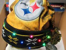 Pittsburgh Steelers LED Light up Winter Beanie SANTA HAT 1 adult sz Cap tailgate