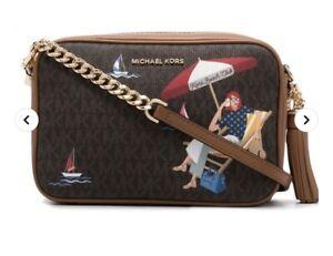 Michael Kors Brown Signature Jet Set Camera Crossbody Bag Kors Beach Club NWT