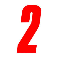 6 inch tall Red Race Number 2 racing numbers decals