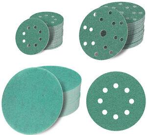 125 150 180 mm Exzenter Schleifscheiben 6 + 9 15 Loch Schleifpapier Klett grün