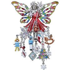 KIRKS FOLLY CHRISTMAS DREAM FAIRY PIN PENDANT  silvertone