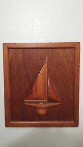 Yacht Half Hull Wood Sailboat Ship Model Diorama Plaque