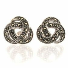 Sterling Silver Marcasite Celtic Knot Stud Earrings by Touch Jewellery   925