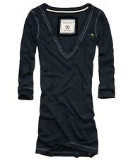 ABERCROMBIE & FITCH A&F V-neck pull t-shirt maglietta donna misto cotone blu new