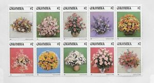 COLOMBIA 1982, FLOWERS, FLORAL BOUQUETS, SHEET OF 10 VALUES MNH SCOTT 900