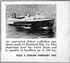 1958 Magazine Photo Richland Mfg 16 Ft Aluminum Runabout Boats