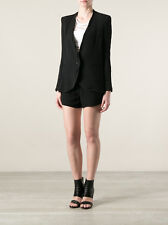 $595 Helmut Lang Women Smoking Wool Jacket Blazer in Black Size 4