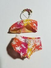 Barbie Doll Pink/Orange/Yellow 2 Piece Swimsuit - Sun & Palm Trees