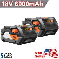 6.0AH For RIDGID R840087 18V HYPER Li-ion R840085 BATTERY R840084 R840086 2-Pack